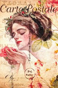 Postcard French Vintage Shabby Chic Style, Fashion, Lady smelling Rose 61J