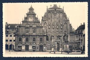 Black Faced Guild Houses Latvia RPPC unused c1920's