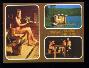 210081 Finland Finnish Sauna Nude girls & boys old postcard