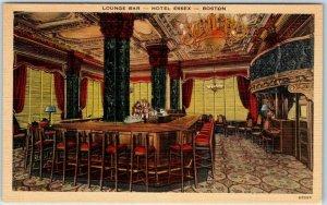 Boston, Mass. Postcard Lounge Bar - HOTEL ESSEX Tichnor Linen c1940s Unused