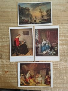 WALLACE COLLECTION.A LOT OF 4 ART POSTCARDS.RIVER SCENE/LACEMAKER/MODISTE*P10