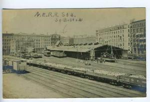 So. Boston MA Railroad Station Depot RPPC Postcard