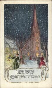 Betters Homes & Gardens Church Town Crier Winter Snow Scne - Card NON_POSTCARD