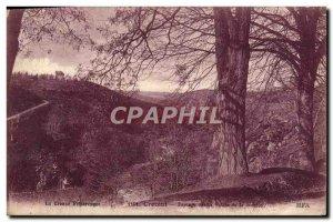 Old Postcard Crozant Landscape on valllee