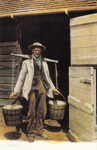 Nostalgia Postcard 1900s The Milkman with His Milk Yoke, Reproduction Card NS8