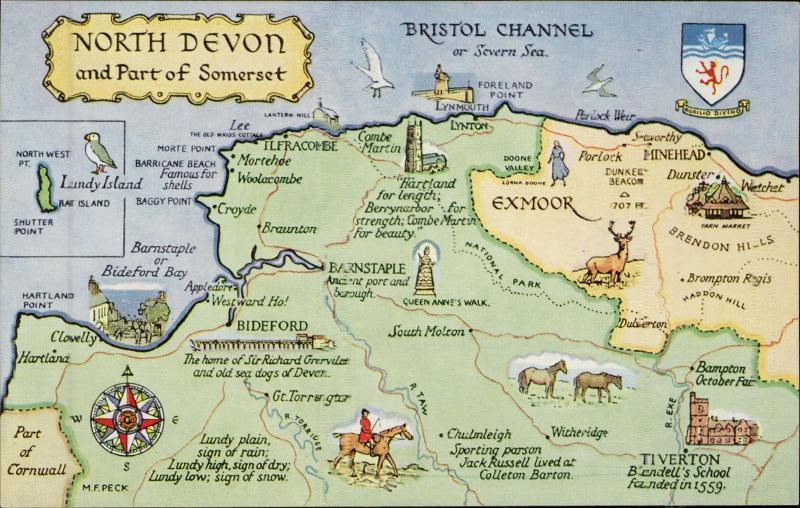 Map Of Uk Devon.North Devon Uk Map Postcard Hippostcard