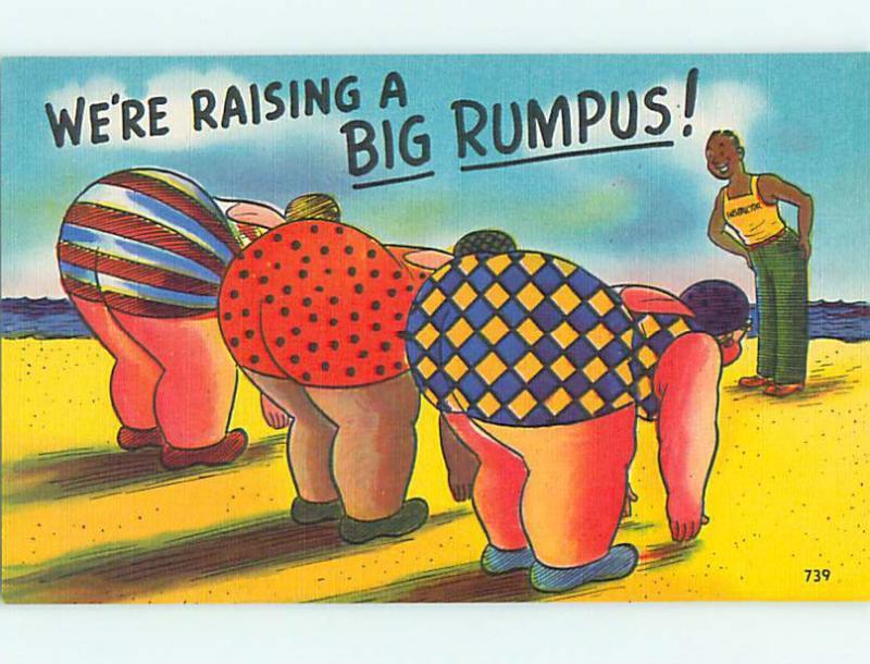 Unused Linen risque BIG RUMPUS - THREE FAT GIRLS BEND OVER r1870@