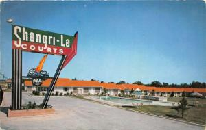 Mobile Alabama~Shangri-La Hotel Courts~Swimming Pool~Highway 90~1950s Postcard