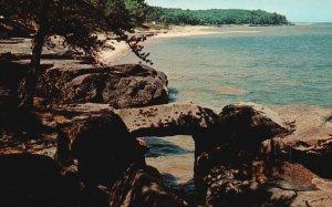 Vintage Postcard Natural Bridge Broken Rocks Port Austin Michigan MI