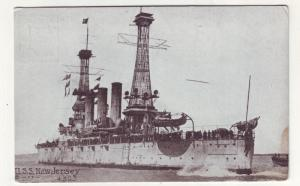 P211 JL old postcard uss battleship new jersey at sea