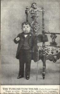 Turkish Tom Thumb Smoking Cigarette Little Person Dwarf Midget Postcard
