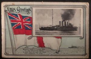 Mint Australia Picture Postcard PPC Xmas Greetings HMAS Warrego Ship B