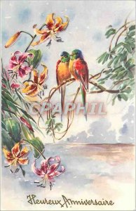 Old Postcard Happy Birthday Birds