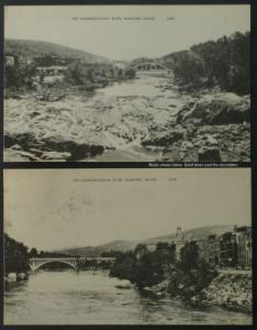 Androscoggin River, Bridges Rumford Maine 2cards c1950s