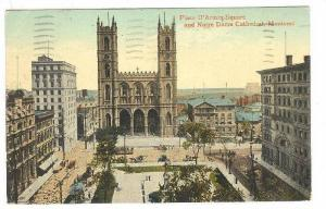 Place D'Armes Square and Notre Dame Cathedral, Montreal, Canada, PU-1916