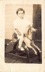 Young Boy on Rocking Horse Circa 1909 RPPC Postcard