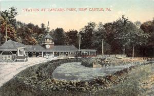 D64/ New Castle Pennsylvania Pa Postcard Railroad Depot Station '09 Cascade Park