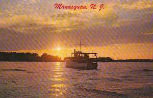 New Jersey Manasquan Fishing Boat Heading Home At Sunset 1964