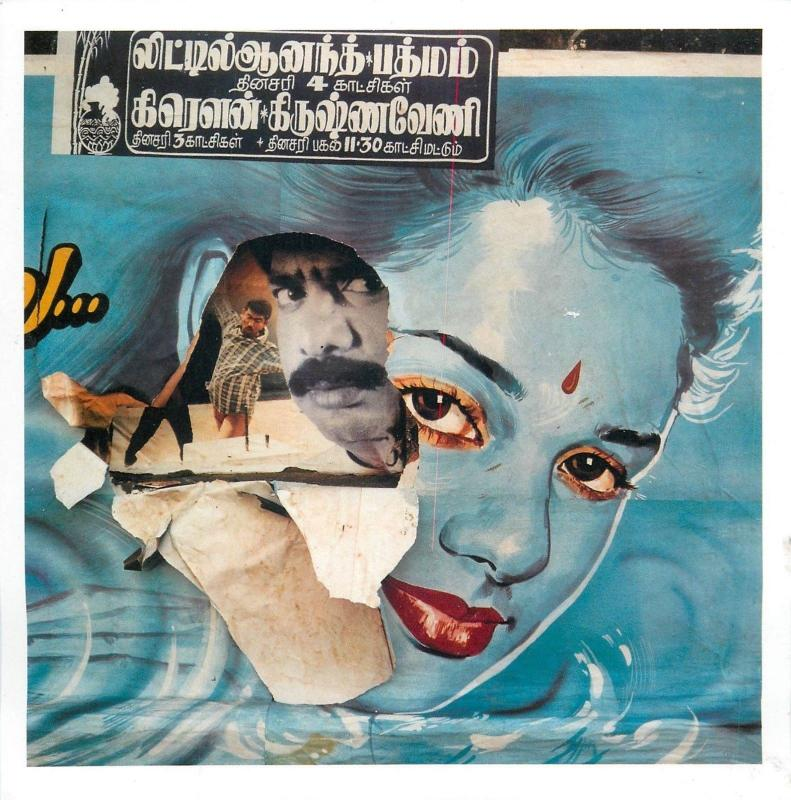 Bollywood torn cinema posters on the wall in Chennai