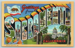 Postcard CA Large Letter Greetings From Sacramento California c1940s Linen B12