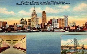 Michigan Detroit As Seen From Windsor Canada Curteich