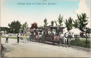 Barbados Hastings Rock & Tram Cars White Horses Postcard F52