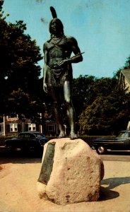 Massachusetts Plymouth Statue Of Massasoit Protector Of The Pilgrims 1967