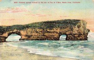 SANTA CRUZ CALIFORNIA~NATURAL ARCHES FORMED BY THE SEA AT VUE d'EAU POSTCARD