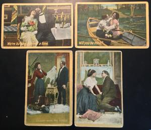 "Vintage Postcards (4) Unused ""Love Theme Couples"" Gold lettering LB"