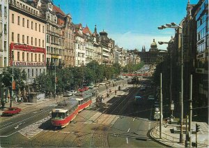 Postcard CZECH REPUBLIC Praha prague praga vaclavske namesti street view tram