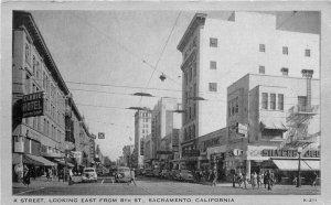 Autos K Street 8th Sacramento California Clear View 1930s Postcard Wayne 9734