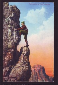 P1519 old unused postcard man climbing a mountain tirois,s bergen switzerland