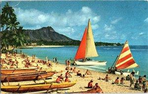 Outrigger Catamaran Waikiki Hawaii Vintage Postcard Standard View Card