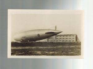 Original Mint RPPC Zeppelin USS Los Angeles on Ground Landing USA RPPC Postcard