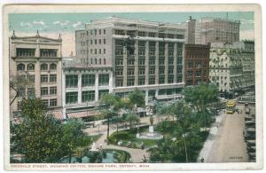 Detroit to Battle Creek, Michigan used 1915 Postcard, Griswold Street