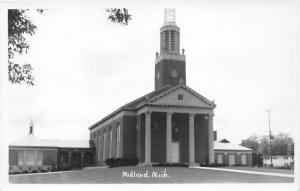 Midland Michigan~Memorial Presbyterian Church~Clock Tower~Greek Columns~50s RPPC