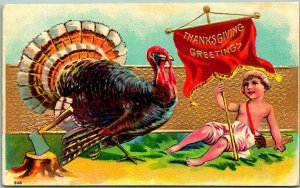 Vintage THANKSGIVING GREETING Embossed Postcard Tukey / Boy w/ Banner Dated 1908