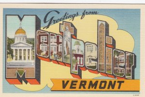 Large Letter  MONTPELIER  , Vermont , 1930-40s