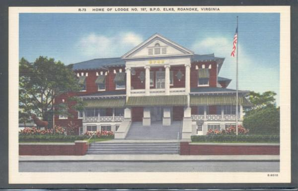 Virginia colour PC  Elk Lodge 197 Roanoke, VA, unused