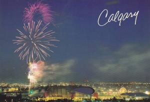 Fireworks Light Up The Sky, Calgary Stampede, Saddledome, Calgary, Alberta, C...