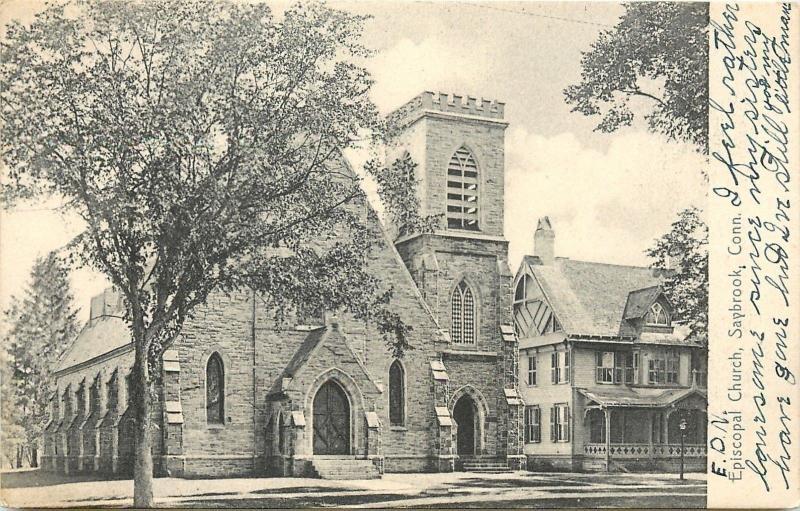 Saybrook Connecticut~Episcopal Church~Parsonage Next Door 1906 B&W Postcard