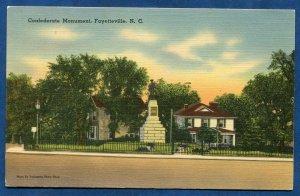Confederate Monument Fayetteville North Carolina nc old linen postcard #2