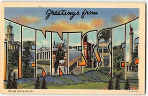 TENNESSEE  Large Letter Linen Postcard  - Curt Teich, 1939