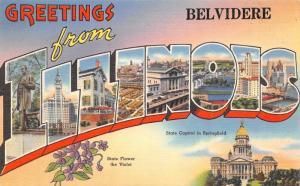 Belvidere Illinois~State Large Letter Linen Postcard~Violets~Lincoln Statue~1940