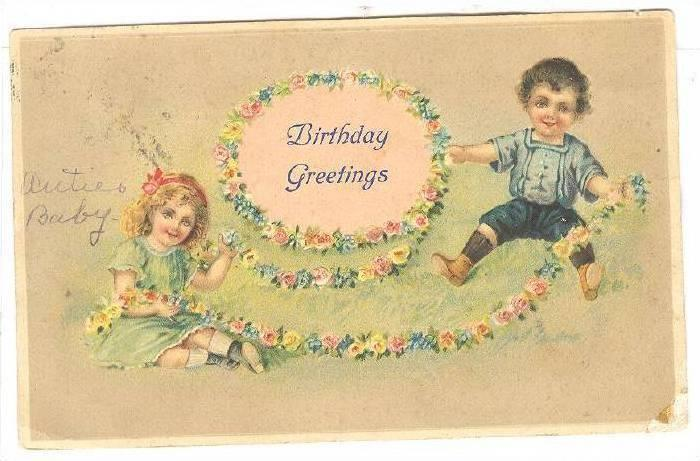 Birthday Greetings, Boy and Girl playing with a string of flowers, PU-1910