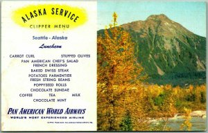 1954 PAN-AM Pan American World Airways MENU Postcard ALASKA SERVICE Seattle
