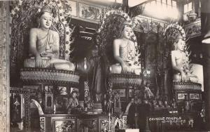 Singapore Chinese Temple Interior Real Photo Antique Postcard J65421