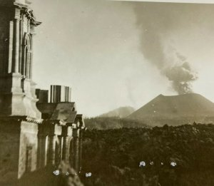 RPPC Volcano City Mexico Paricutin Michoacan Building Eruption Postcard