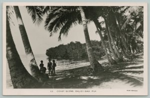 Dalici Gau Fiji~Trio of Boys Under Shade of Palm Trees~Coast Scene~RPPC 1930s?