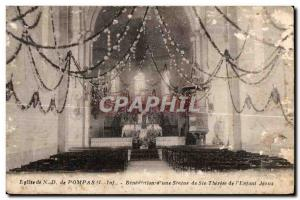 Old Postcard Church Pompas Benediction a statue of St. Therese of Jesus L Enjant